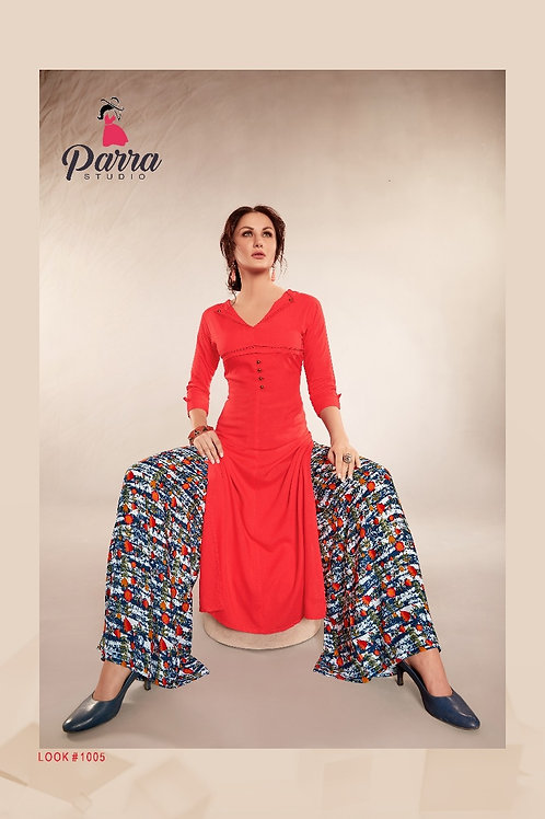 PARRA_ZOLLY_LONG KURTI WITH TRENDYDESIGNED PALAZZO