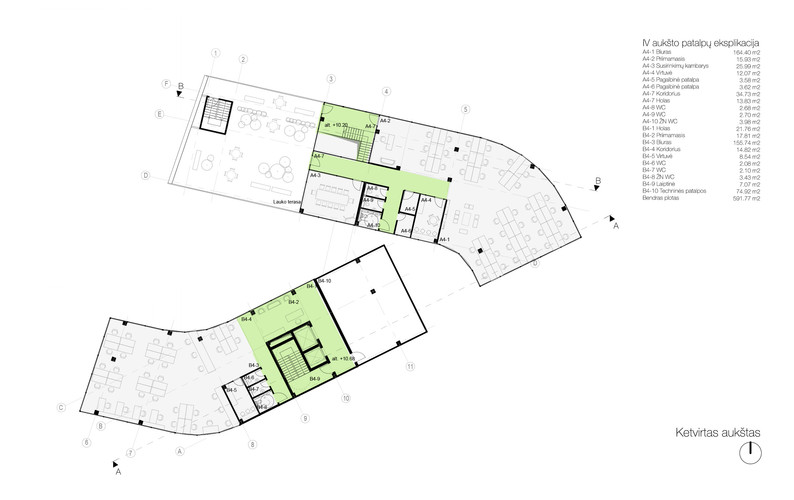 Plan level 04 - offices, roof terace
