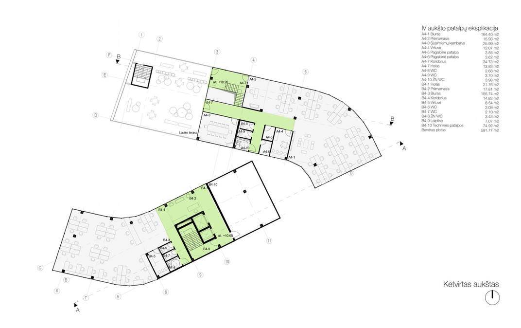 04 aukšto planas - biurų patalpos bei stogo terasa