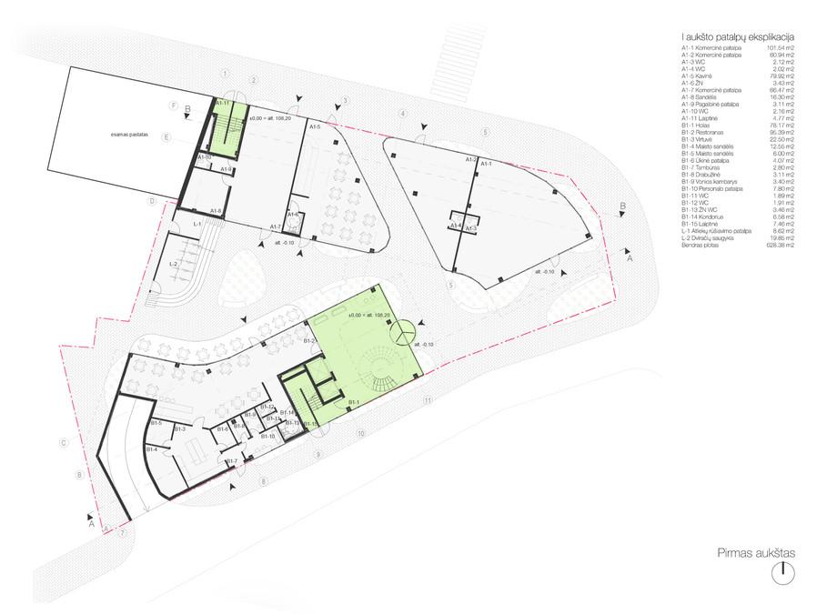01 aukšto planas - vestibiulis, restoranas, kavinė bei nuomojamos patalpos smulkiai prekybai