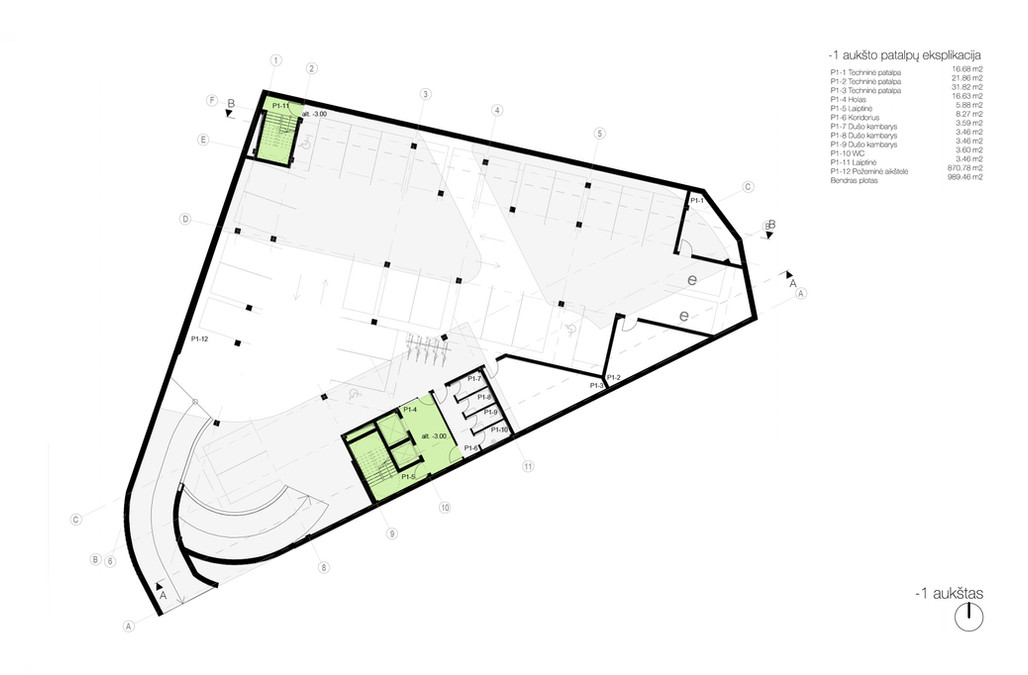 -01 aukšto planas - požeminė automobilių aikštelė