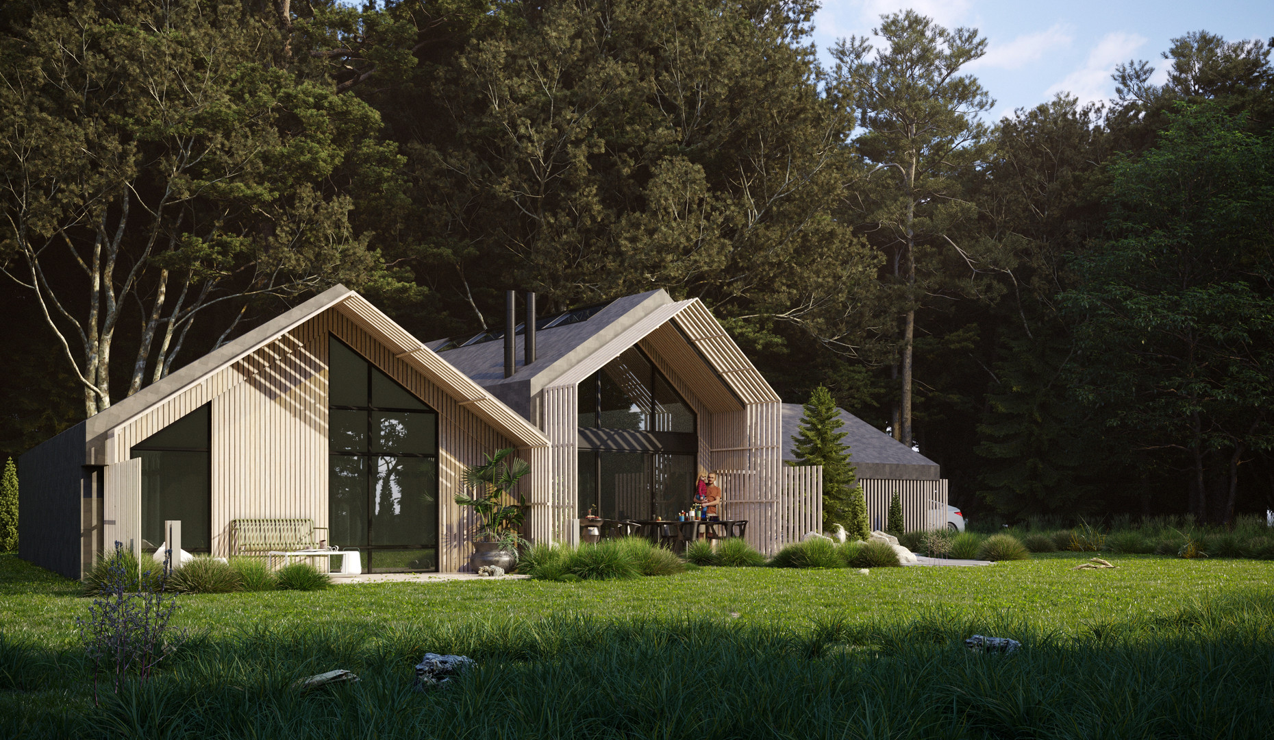 Gallery of architectural visualization and plan of House Gudi