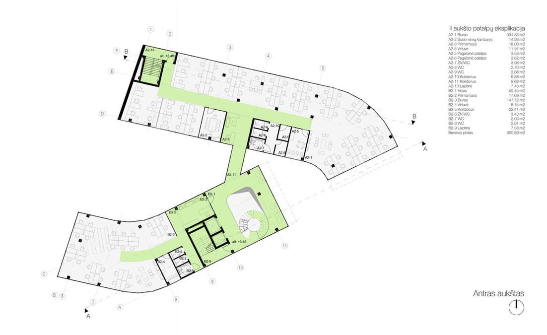 02 aukšto planas - biurų patalpos