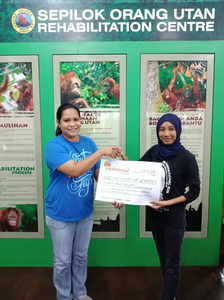 MyHoliday2 Borneo staff member presenting Sepilok with our bi-annual donation from Borneo tours sales