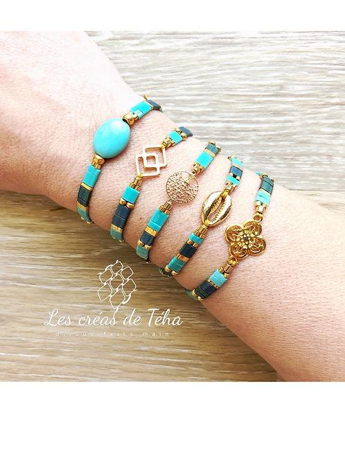 Bracelet Summer turquoise et or