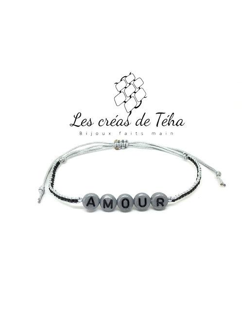 Bracelet personnalisable gris et noir