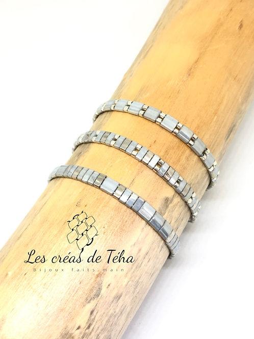 Bracelet fin gris et argenté