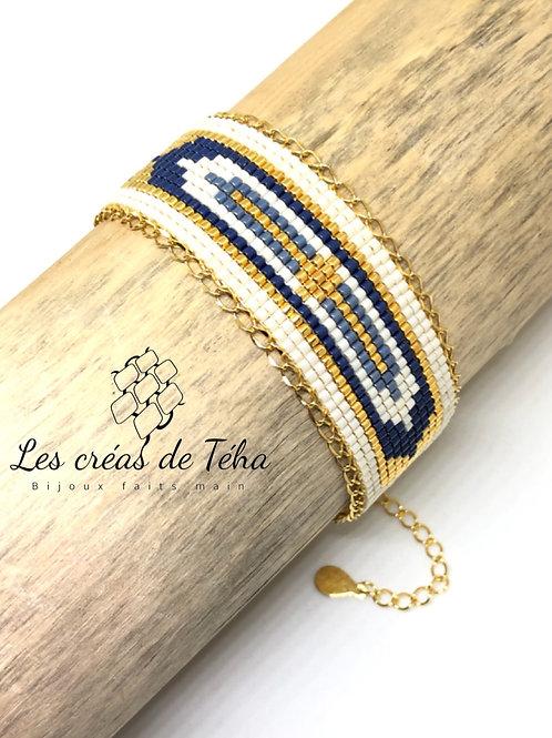 Bracelet tissé plaqué or acier inoxydable