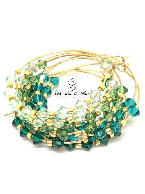 Créoles Shine acier inoxydable perles Swarovski