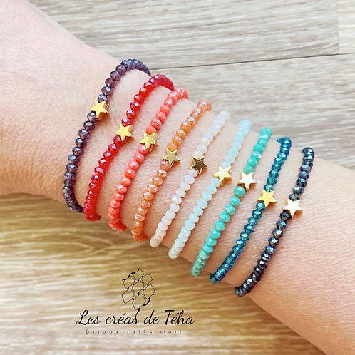 Bracelet Shine en perles de verre à facettes et plaqué or
