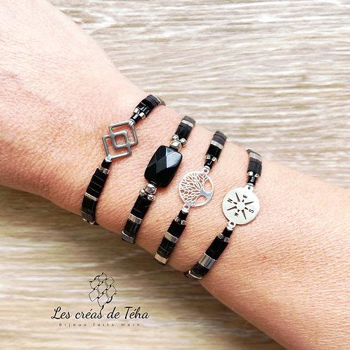 Bracelet Summer noir et argenté