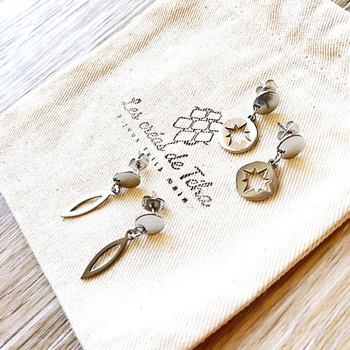 Boucles d'oreilles Les créas de Téha Māhina argentée en acier inoxydable