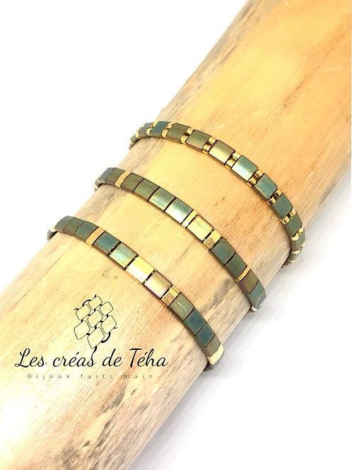 Barcelet fin kaki et doré