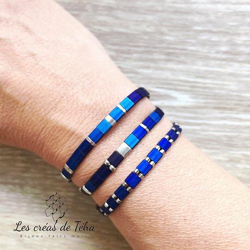 Les créas de Téha bracelets Huira bleu et argenté