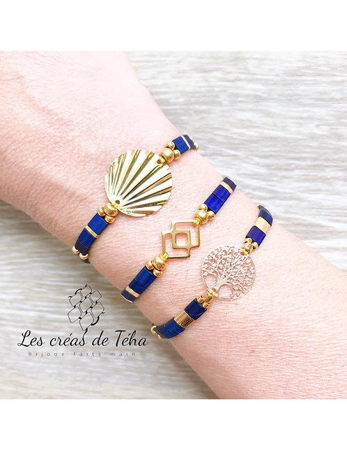 Bracelet Summer bleu et doré en perles de verre