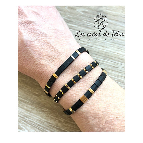 Bracelet Huira noir mat en perles miyuki Tila