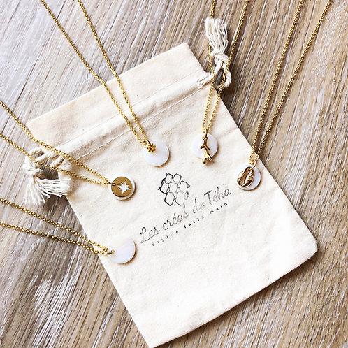 Collier Nacre séquin nacre et chaine argent 925 plaqué or