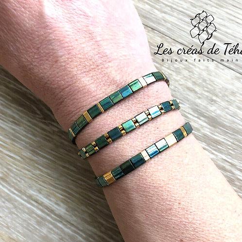 Bracelet en perles miyuki Tila vertes à reflets