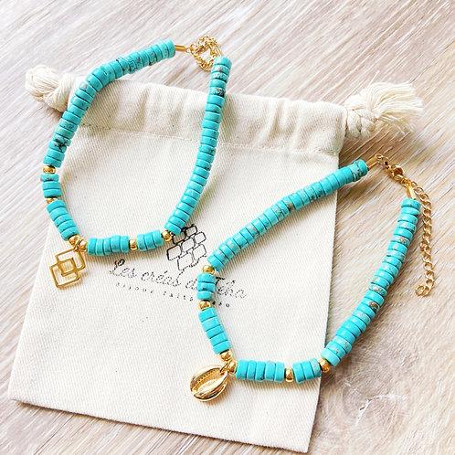 Bracelet de cheville Mōmoa en perles heishi en turquoise et acier inoxydable