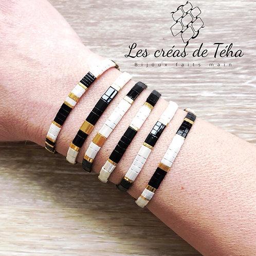 Bracelet Tila noir ivoire et doré
