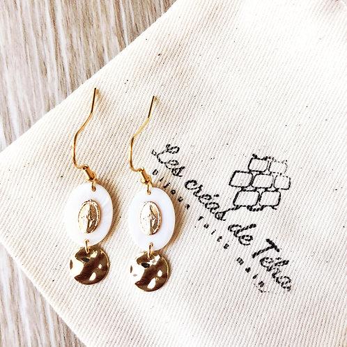 Boucles d'oreilles en plaqué or et nacre