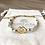 Bracelet Summer blanc, doré et losange double en plaqué or