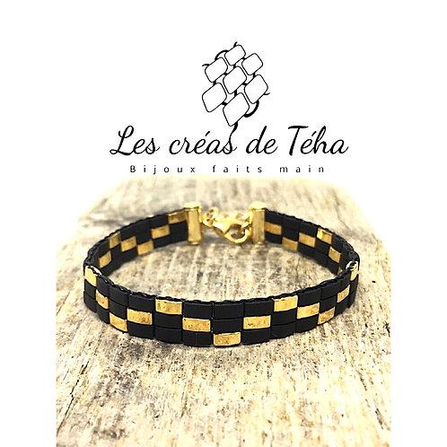 Bracelet tissé half tila noir et or