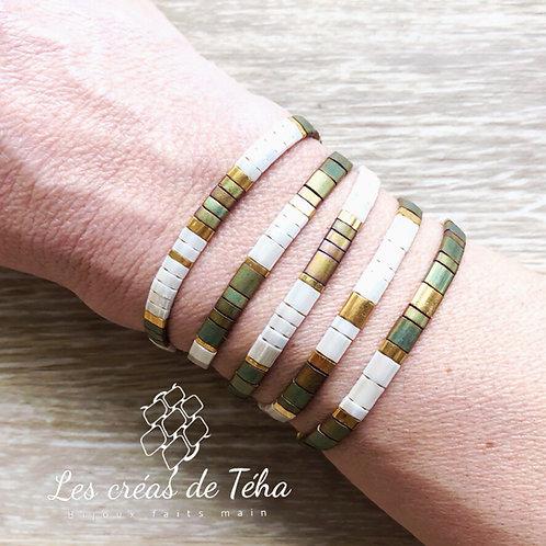 Bracelet Tila kaki ivoire et doré