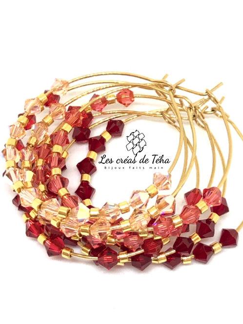 Créoles modèle Shine acier inoxydable perles Swarovski