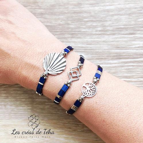 Bracelet Summer bleu et argenté en perles de verre