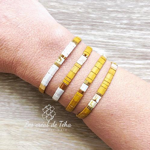 Bracelet Huira moutarde par Les créas de Téha