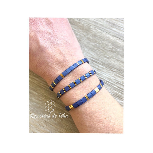 Bracelet Huira bleu mat en perles miyuki Tila