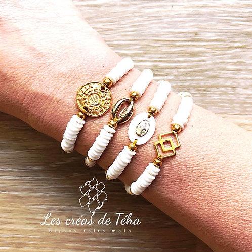 Bracelet Monoï en perles heishi en nacre et plaqué or