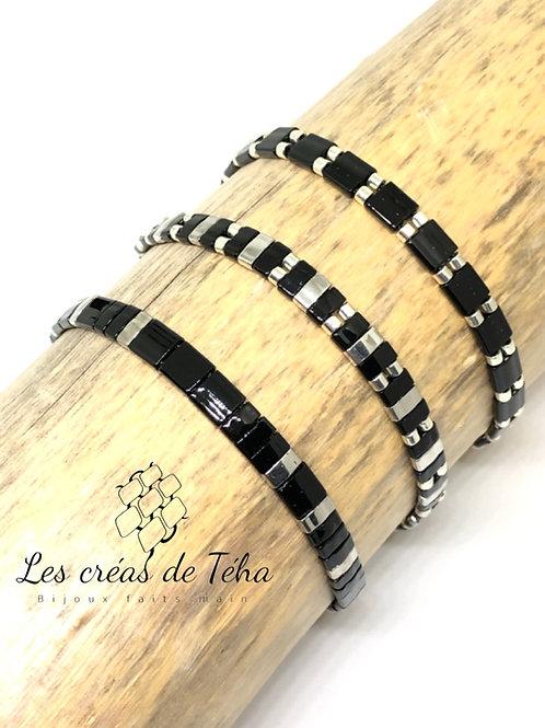 Bracelet fin noir et argenté
