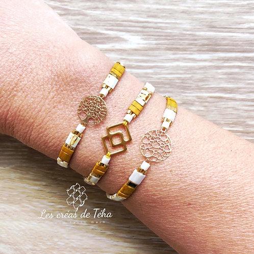 Bracelet Summer moutarde par Les créas de Téha