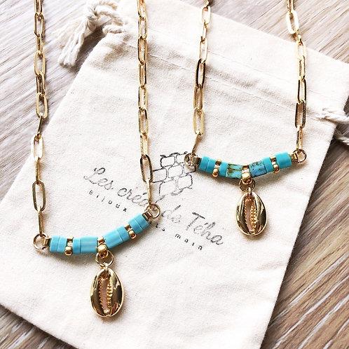Collier Summer turquoise en plaqué or et coquillage Cauri