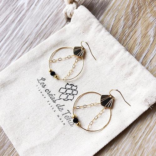 Boucles d'oreilles modèle Shell mini en plaqué or et perles de nacre
