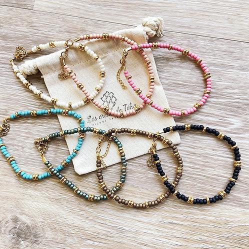Bracelet de cheville Moana en perles de rocaille et acier inoxydable