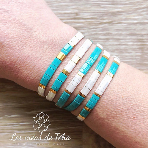 Bracelet Tila turquoise blanc et doré