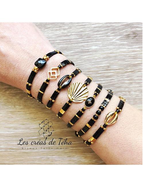Bracelet Summer noir et doré