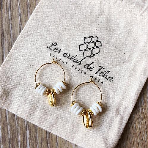 Créoles Monoï avec perles de nacre