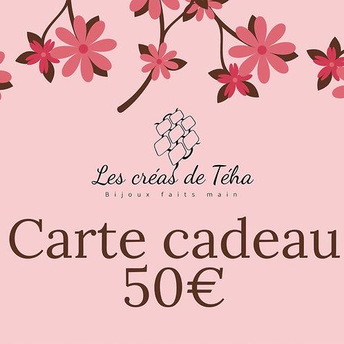 Carte cadeau d'une valeur de 50 euros