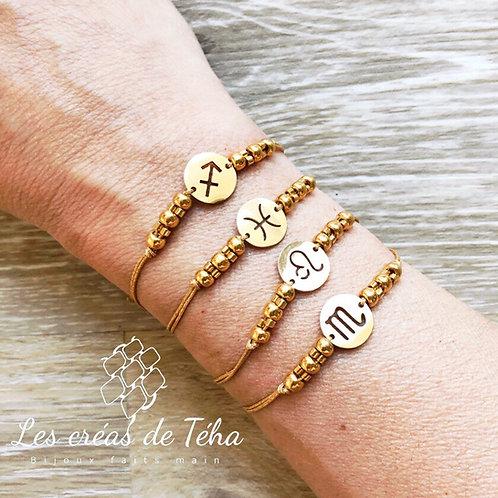 Bracelet Zodiac doré acier inoxydable et cordon