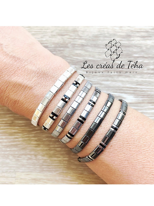 Bracelet Huira en perles en hématite et cordon