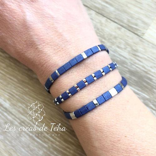 Bracelet en perles Miyuki Tila bleu mat et plaqué argent