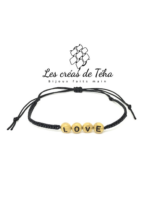 Bracelet personnalisable noir et doré