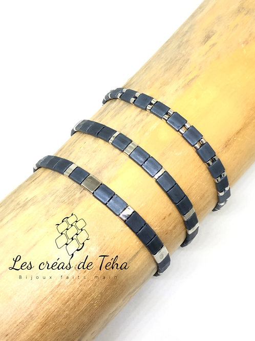 Bracelet fin bleu gris, plaqué argent en perles Miyuki