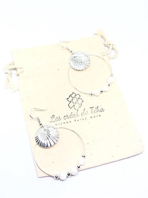 Boucles d'oreille Shell en plaqué argent et nacre par Les créas de Téha