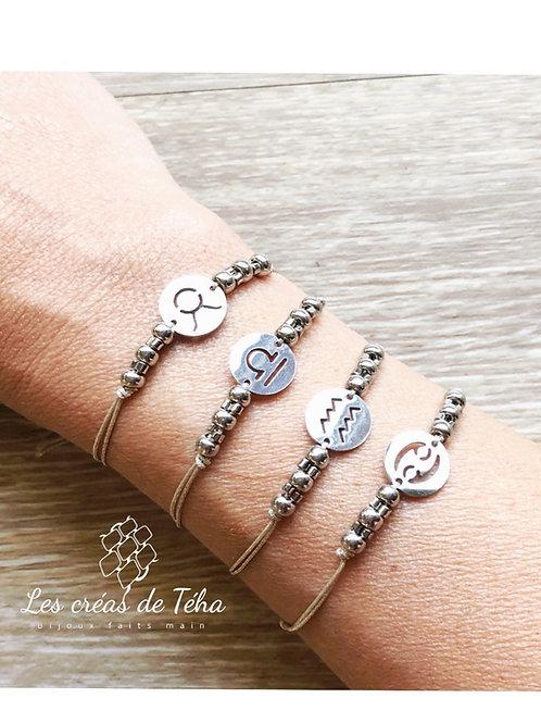 Bracelet Zodiac argenté acier inoxydable et cordon