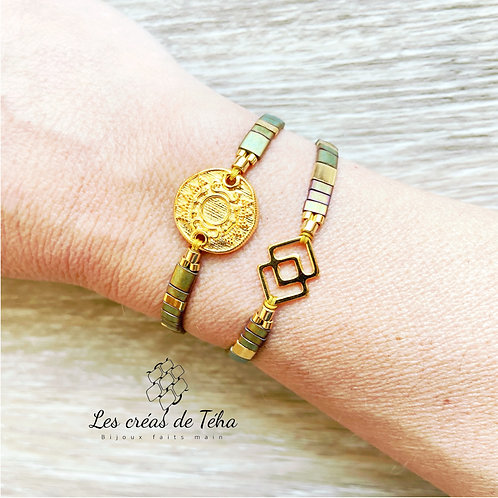 Bracelet Summer kaki et doré en perles de verre